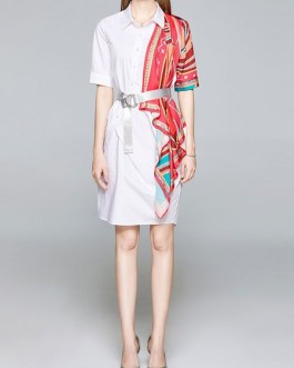 Short Sleeves Sash Patch Block Midi Dress