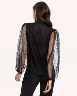 Transparent Turn Down Collar Long Puff Sleeve Blouse