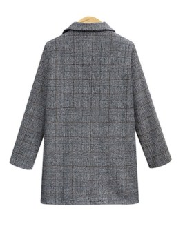 Turndown Collar Long Sleeve Plaid Jackets With Pockets