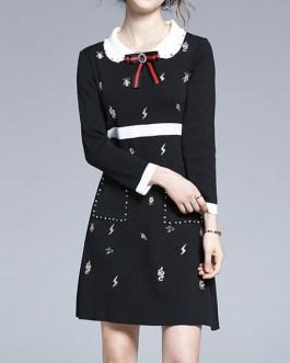 Turndown Collar Long Sleeves Bows Printed Short Dress