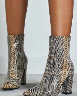 Ankle Pointed Toe Snake Print Chunky Heel PU Leather Booties