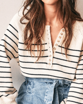 Button Oversize Pullover Sweater