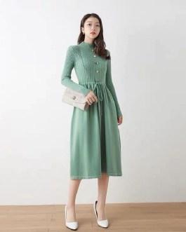 Casual Turtleneck Drawstring Waist A-line Sweater Dresses