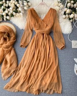 Elegant Retro Puff Sleeve V Neck Silk Scarf Solid Dresses