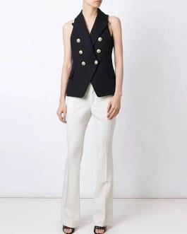 Elegant V Neck Button Sleeveless Runway Party Vest Coats
