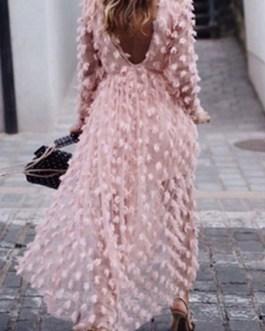 Jewel Neck Long Sleeve Irregular Floor Length Dress