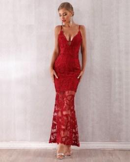 Lace Spaghetti Strap V Neck Maxi Club Celebrity Runway Party Dress