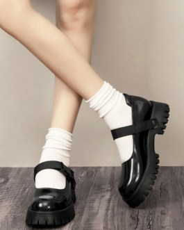 Loafers Round Toe Chunky Heel Casual Marry Jane PU Leather Shoes