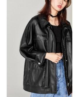 Loose Soft PU Leather Punk Streetwear Motor Biker Jacket
