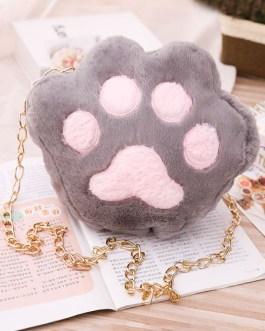 Sweet Lolita Short Plush Cat Paw Cross Body Bag
