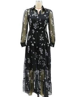 Turndown Collar Long Sleeve Floral Print Tulle Long Dress