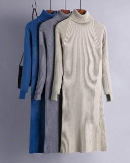 Turtle Neck Knitted Slim Long Sleeve Split Sweater Dresses