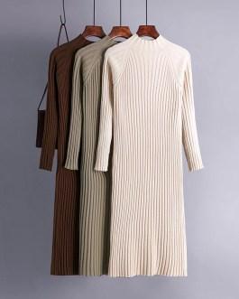 Turtleneck Knitted Long Sleeve Street Wear Sweater Dress