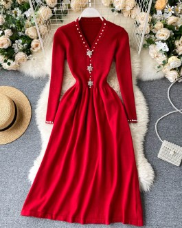 V Neck Pearl Button Long Sleeve A-line Dress