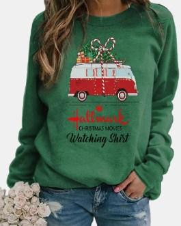 Christmas Cartoon Gift Car Print Long Sleeve T-shirt