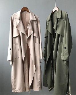Elegant Solid Color Windbreaker Coat