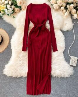 Retro Lace up Long Sleeve Split Slim Sweater Dress
