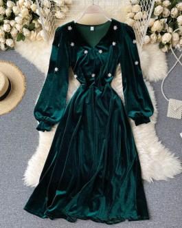 A-line Fashion Street Wear Retro V Neck Puff Sleeve Dress