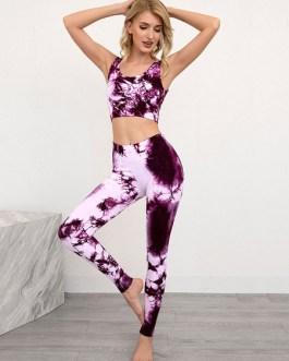 Activewear Nylon Sleeveless Yoga Sexy Workout Clothing Stretchy 2 Piece Set