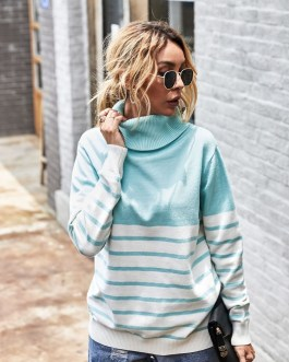 Casual Long Sleeve High Neck Striped Sweater