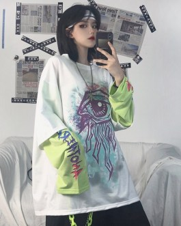 Casual Loose Two-Piece Long Sleeve Printed T-Shirt