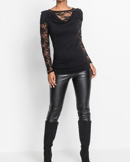 Close-fitting Tunic with Lace Inserts
