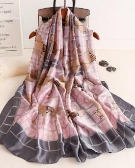 Designer Animal Print Silk Neck Scarf