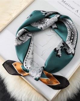 Fashion Latter Print Silk Square Scarf