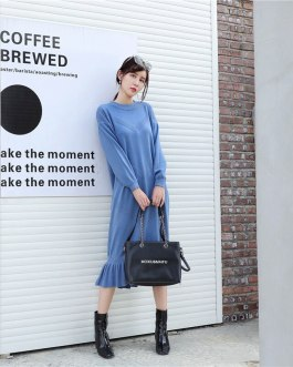 Fashion Long Sleeve Ruffles Casual Loose Street Wear Long Dresses