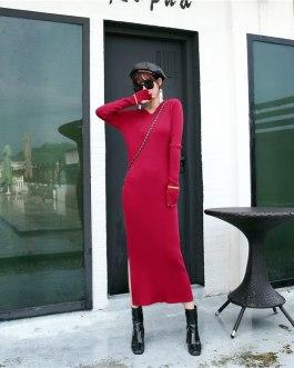Fashion Long Sleeve Slim Sexy Split Body Con Casual Sweater Dress