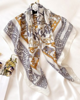 Fashion Print Square Silk Scarf