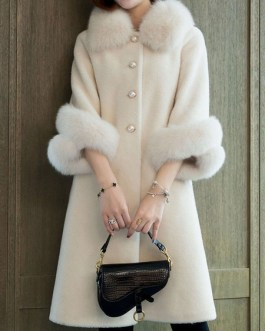 Faux Fur Long Sleeves Turndown Collar Polyester Casual Coat