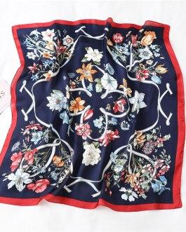Floral Print Silk Square Neck Scarves