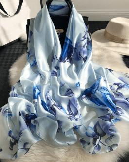 Flower Print Silk Scarves