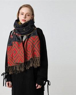 Geometric Print Warm Knit Cashmere Soft Scarf