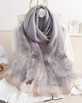 High Quality Embroidery Floral Silk Wool Scarf