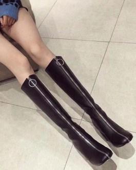 Knee-High Square Toe Chunky Heel PU Leather Boot