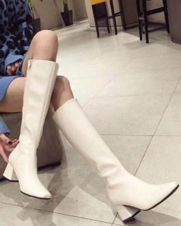 Knee-High Square Toe Chunky Heel PU Leather Medium Shaft Boot