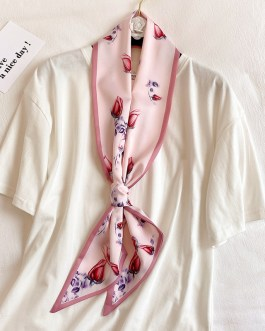Long Silk Floral Print Neck Scarves