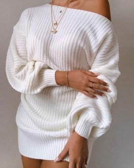 Long Sleeves Casual Jewel Neck Shift Dress