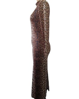 Long Sleeves Leopard Print High Collar Polyester Floor Length Maxi Dresses