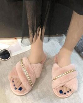 Plush Knitting Wool Upper Open Toe Beaded Slippers