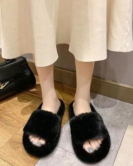 Plush Open Toe Knitting Wool Upper Slipper