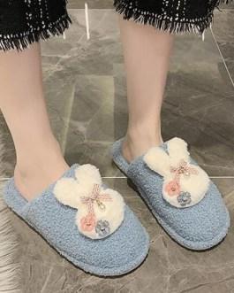 Rabbit Plush Knitting Wool Upper Closed Toe Slippers