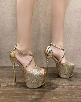 Sexy PU Leather Peep Toe Stiletto Heel Sandals