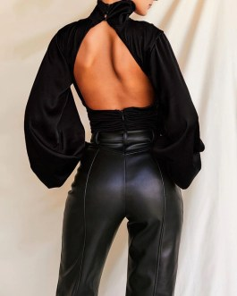 Sexy Turtle Neck Backless Overalls Club Outfits Bodysuit