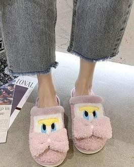 Soft Short Plush Knitting Wool Upper Closed Toe Slipper