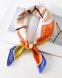 Square Neck Tie Cartoon Girl Print Silk Scarf