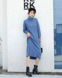Thicken Warm Long Sleeve Solid Turtleneck Knitted Loose Sweater Dresses