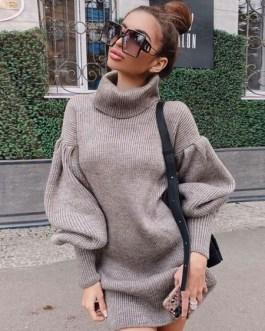 Tunic Long Puff Sleeves Casual High Collar Shift Dress